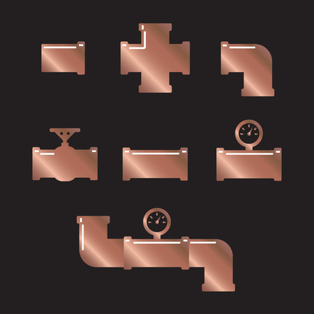 drainage: Pipe fittings vector icons set. Tube industry, construction pipeline