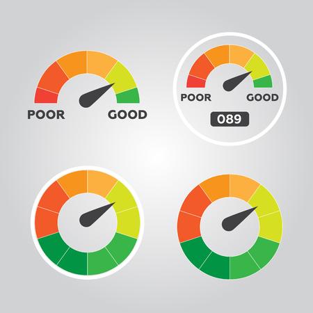 admeasure: Credit score indicators and gauges vector flat Illustration