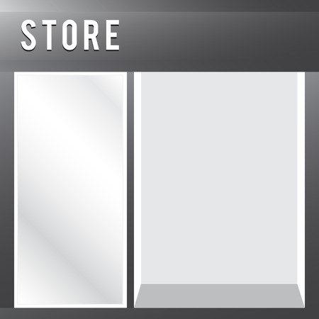 shop show window: Shop with empty display sale vector store