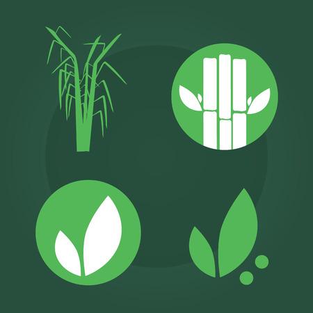 sugarcane: Sugar cane flat icons set illustration vector