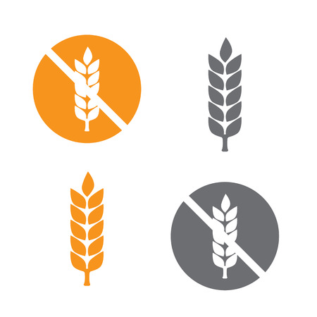 celiac: Wheat yellow gluten free grain icon vector Illustration