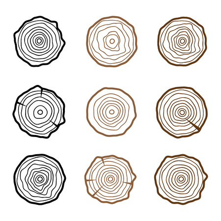 rings on a tree cut: Set of four tree rings icons. concept of saw cut tree trunk