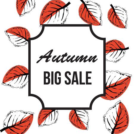 typographic: Autumn big sale postcard typographic. Fall leaf Illustration