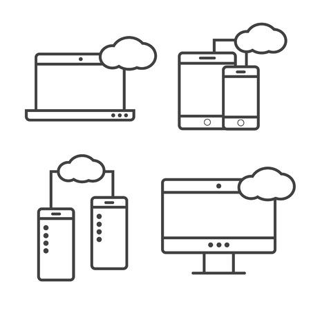 syncing: Syncing computer, cloud computing network, big data analysis icons