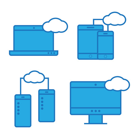 computer network: Syncing computer, cloud computing network. Syncing computer vector Illustration