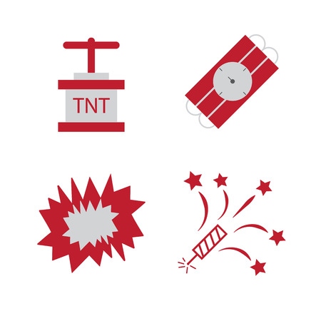 detonation: Bomb flat icons. Bombs explosion, tnt detonation pictograms Illustration