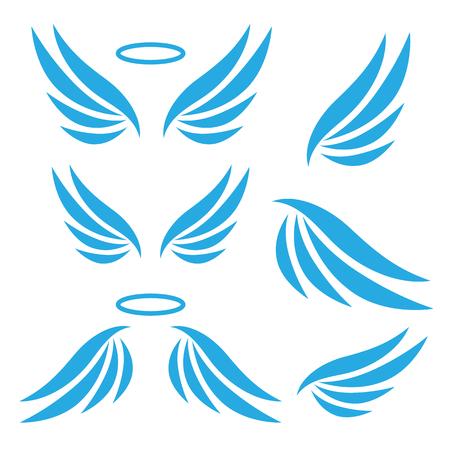 Vector sketch of angel wings. Wings icons set