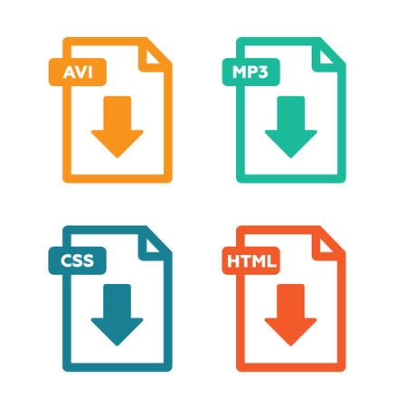 formats: Set of file formats icons vector illustration Illustration