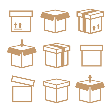 paperboard packaging: Carton box pack set packing boxes Illustration