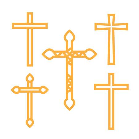orthodoxy: Ornate christian cross art illustration set Illustration