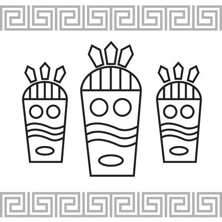 Tribal-Stil-Karte mit Maske Illustration
