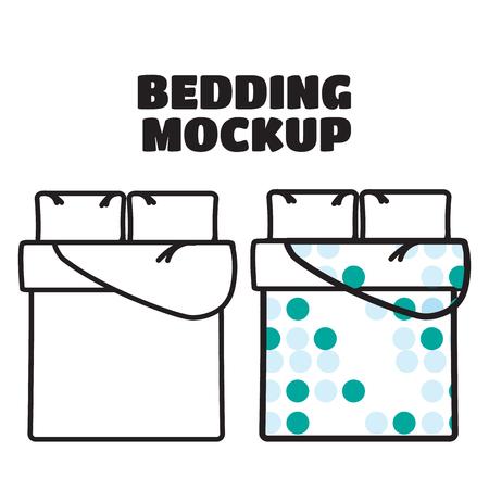bedding: Bedding mockup and sample patterns fills vector Illustration