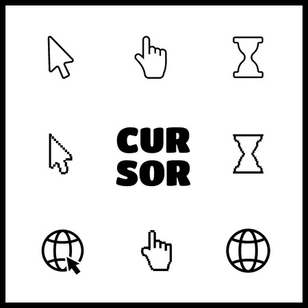 help section: Pixel cursors icons mouse hand arrow vector Illustration