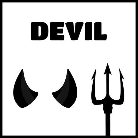 devil horns: Devil horns and trident set vector illustration