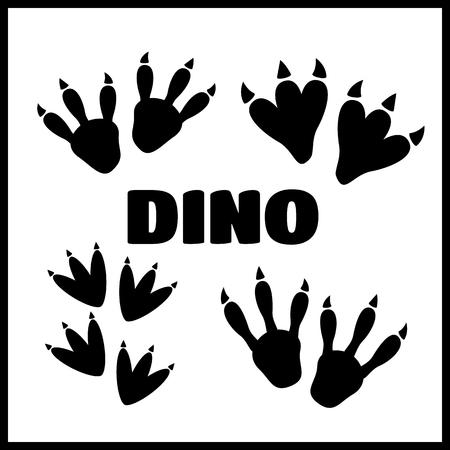 Dinosaur footprint black tracks vector set illustration Stock Vector - 67594548