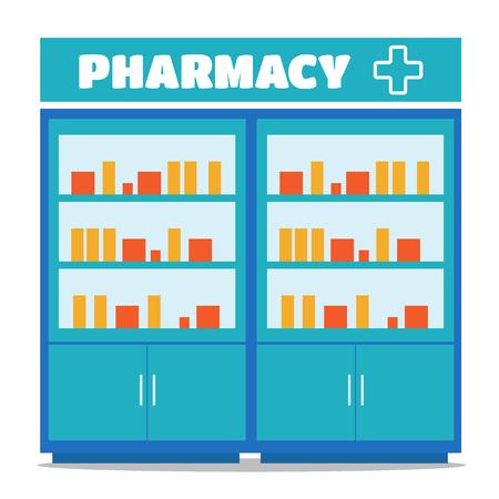 dispensary: Pharmacy opposite the shelves vector illustration in flat style