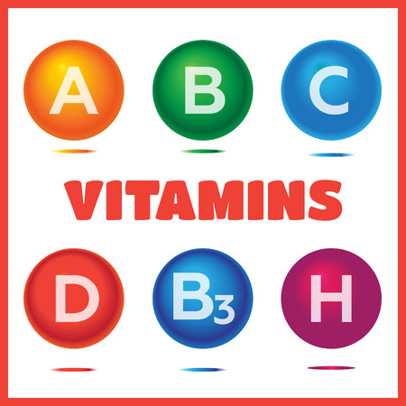 biotin: Vitamins chemical structures. Molecule sign vector set