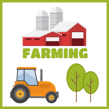 tillage: Farming and agriculture background, tractor and barn vector
