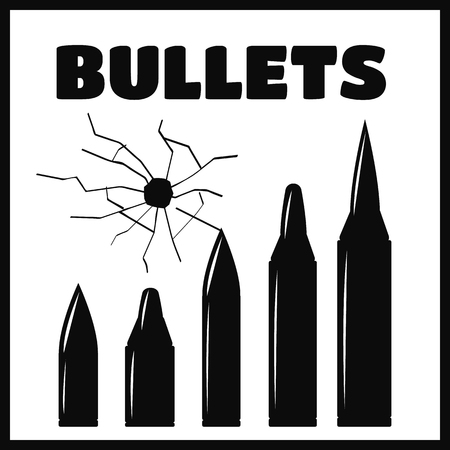 bullethole: Vector bullet holes set. Violence and crime, gunshot and military