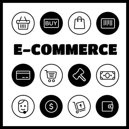 Ensemble d'icônes Shopping et E-commerce. Icônes de livraison commerce électronique e-commerce