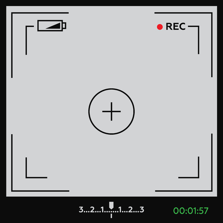 cinematic: Camera viewfinder. Template focusing screen of the camera. Viewfinder camera recording