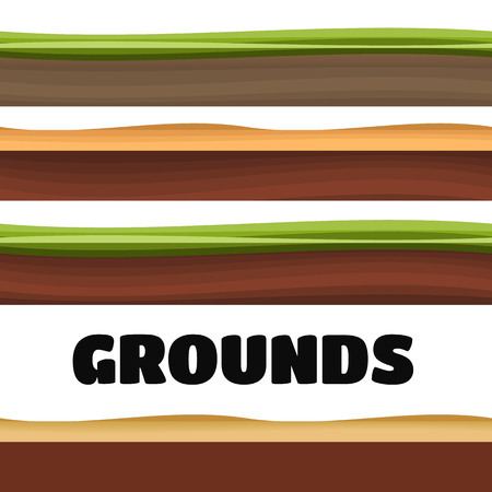 grass blades: Seamless Grounds, Soil And Grass For Ui Game Illustration of a set of various seamless grounds, soils and land foreground area Illustration