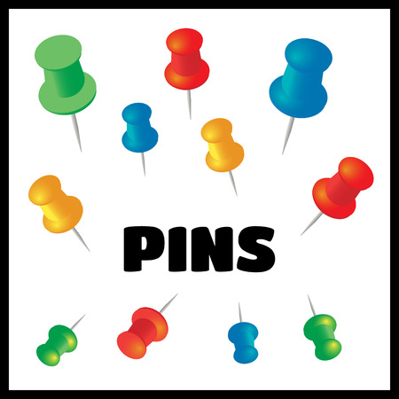 white pushpin: Push pins vector set. Stationery object, plastic element, tack and needle