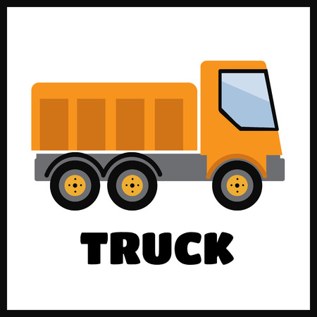 Tipper truck illustration in flat style vector icon Illustration