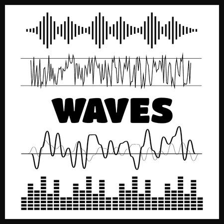 ベクトル サウンド波形。波の音と音楽のアイコン  イラスト・ベクター素材