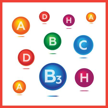 medica: Vitamins and minerals background. Vitamins health medica vector icons set