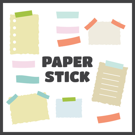 glued: Paper torn page notes. Blank notepad pages with adhesive tape pieces