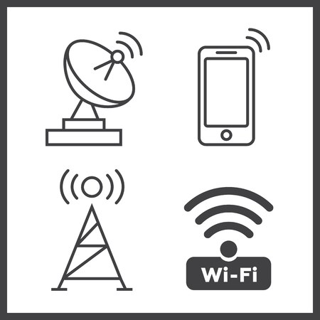 remote lock: Wireless and wifi icons. Wireless Network Symbol wifi icon Illustration
