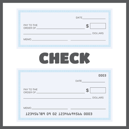 Blank check. Bank Check Template Set vector