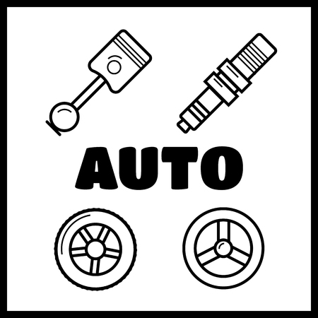 Auto spare parts. Gear and spark plug, wheel and radiator Illustration