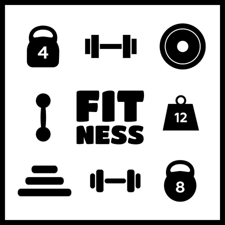 heavy weight: Weight vector icons. Weight dumbbell, heavy weight barbell Illustration