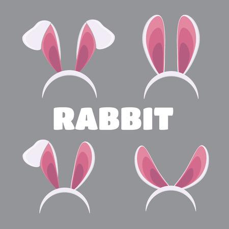 headband: Easter masks set. Vector rabbit ears masks collection for Easter vector