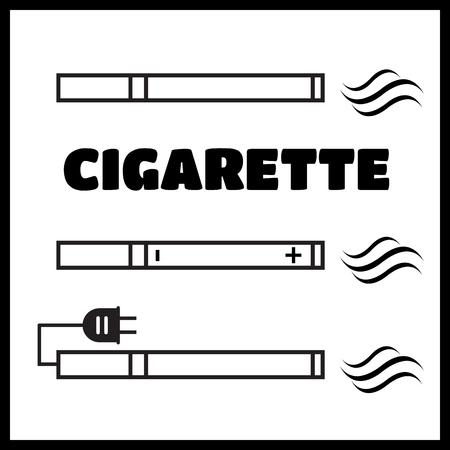 electronic device: Smoking vs Electronic Cigarette or Vaporizer Device vector Illustration