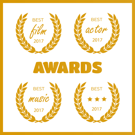 Set of awards for best. Film award wreaths isolated on the white background. Illustration