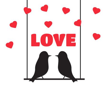 wedding love: love bird vector illustration. love bird concept in flat style.