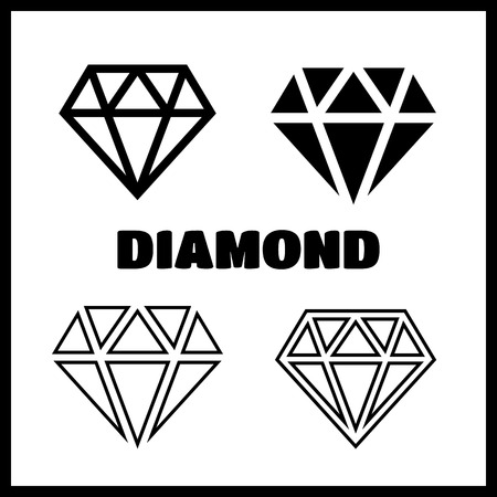 karat: Diamond icons set. Diamond vector sign set Illustration