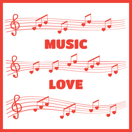 Musical notes and chords heart. Music love