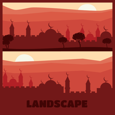 Horizontal abstract banners of arab city vector background