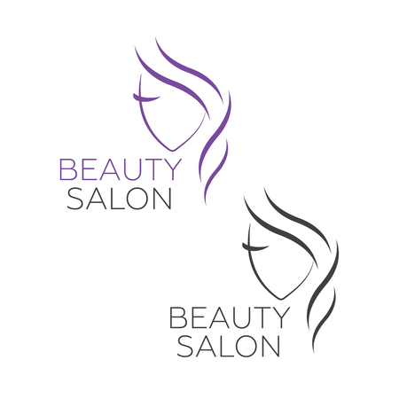 Beautiful woman vector logo template for hair salon, beauty salon. Beautiful woman vector