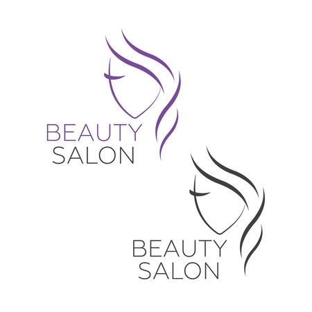 Beautiful woman vector logo template for hair salon, beauty salon. Beautiful woman vector