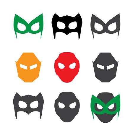 ranger: Super hero masks vector illustration set. Hero masks vector