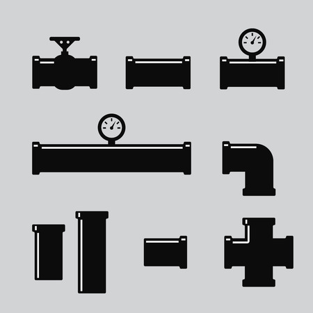 sewage system: Pipe fittings vector icons set. Tube industry, construction pipeline, drain system. Pipe fittings vector