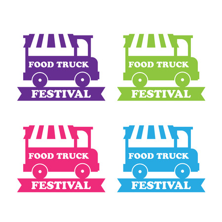 food: Food truck festival emblems and logos. Food truck vector