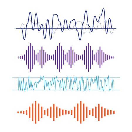 ベクトル サウンド波形。波の音と音楽のアイコン。音の波ベクトル