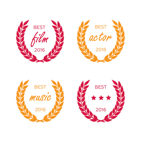 actress: Set of awards for best. Black color film award wreaths isolated. Awards vector Illustration