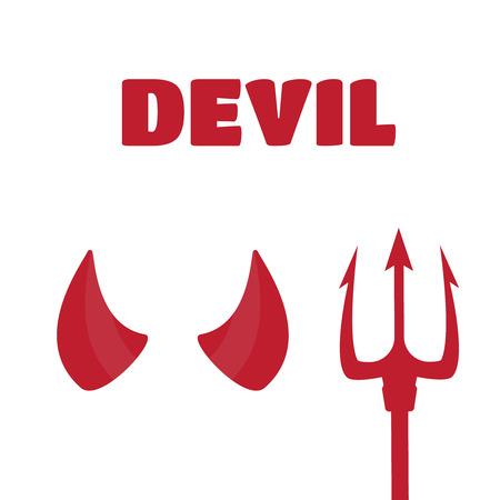 dilemma: Devil horns and trident set vector illustration. Devil horns vector